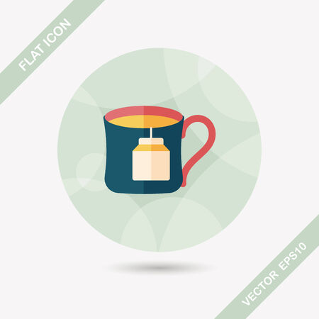 teabag: teabag flat icon with long shadow