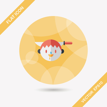 Halloween boy flat icon with long shadow,eps10 Vector