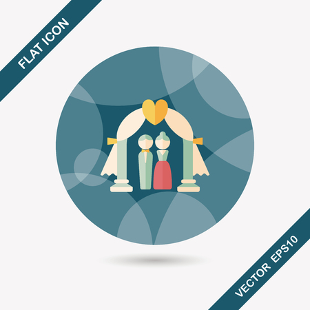 wedding ceremony flat icon with long shadow