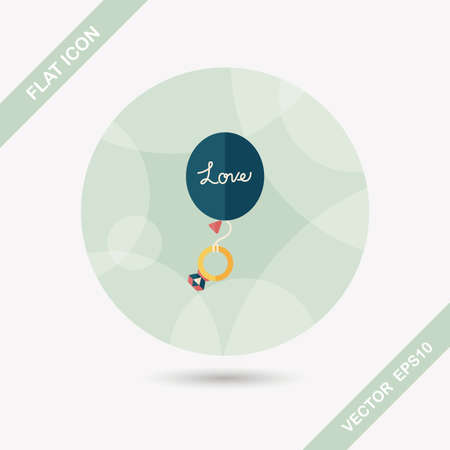 diamond rings: wedding balloons with diamond rings flat icon with long shadow Illustration