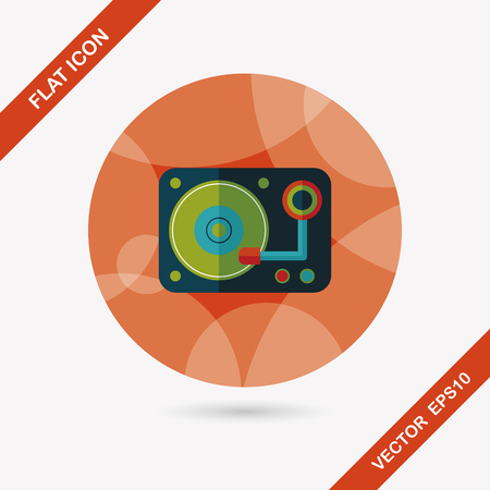 disk jockey: DJ music flat icon with long shadow Illustration