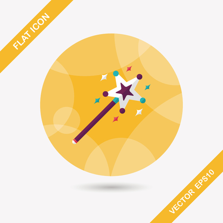 magic wand flat icon with long shadow Vector