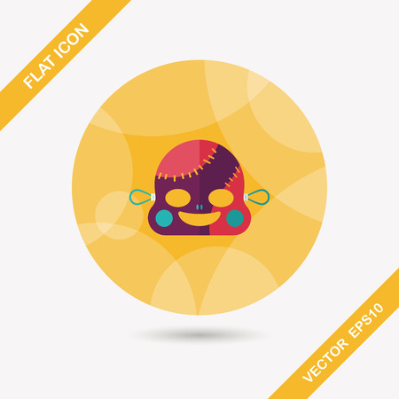 scar: halloween zombie vlakke icoon met lange schaduw