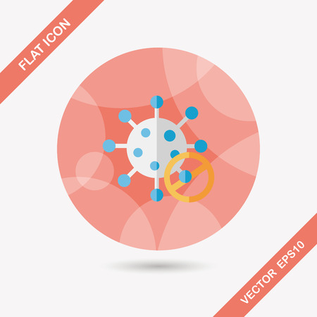 virus flat icon with long shadow Vector