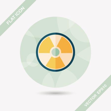 uranium radioactivity: Radiation flat icon with long shadow Illustration