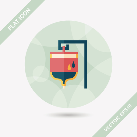 intravenous drip: IV bag flat icon with long shadow Illustration