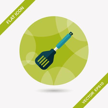 spatula: kitchenware spatula flat icon with long shadow