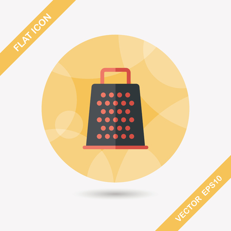 grater: kitchenware grater flat icon with long shadow