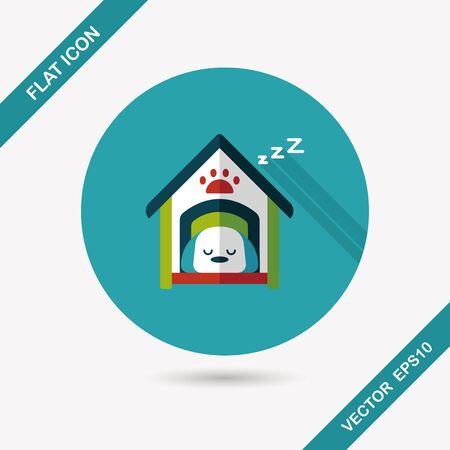 dog house: Pet dog house flat icon with long shadow Illustration