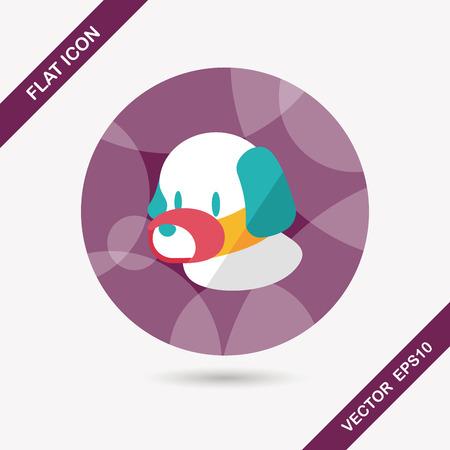 long mouth: Pet dog mouth cover flat icon with long shadow Illustration