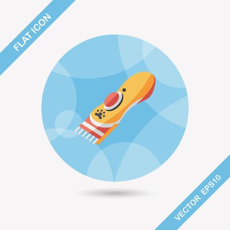 groomer: Pet shaving machine flat icon with long shadow