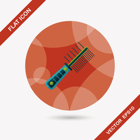 cat grooming: Pet dog brush flat icon with long shadow