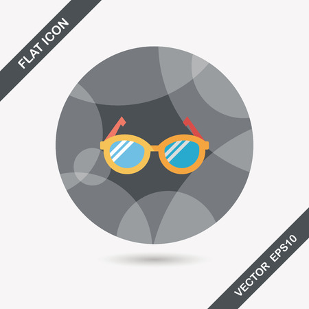 corrective lenses: Glasses flat icon with long shadow