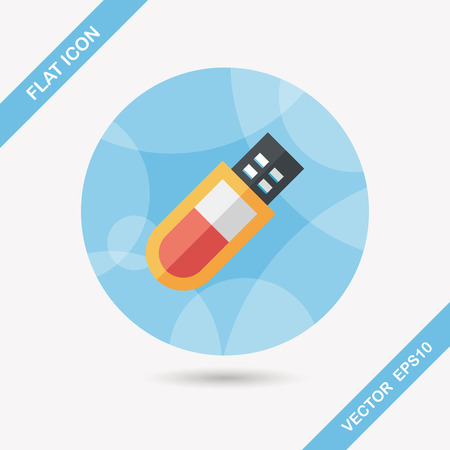 flash memory: Usb flash memory flat icon with long shadow