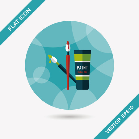 brush and color tube flat icon with long shadow Vector