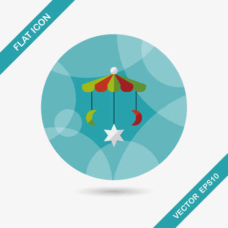 pampering: Baby crib hanging toy flat icon with long shadow Illustration