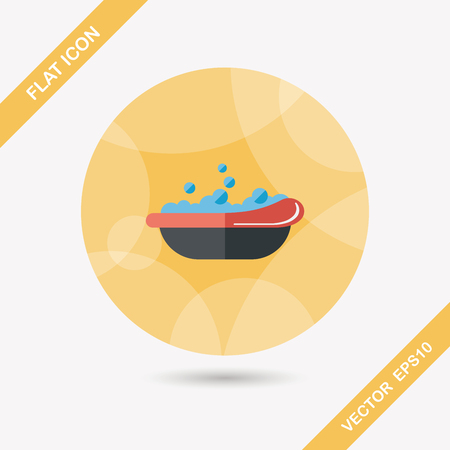 bathtime: baby bath flat icon with long shadow Illustration