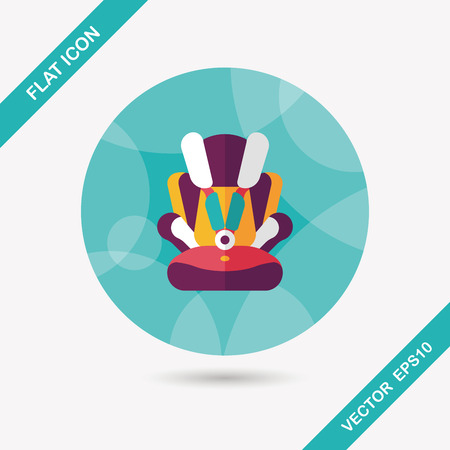 car seat: Baby car seat flat icon with long shadow Illustration