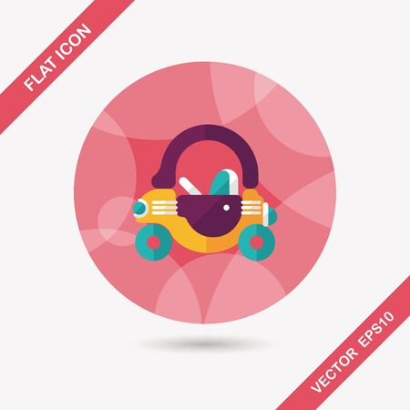 toy car walker flat icon with long shadow Vector