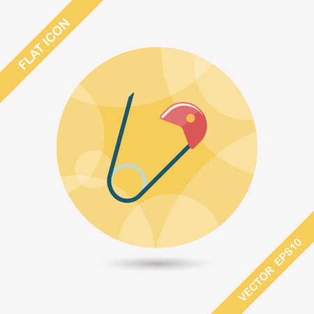 nappy: Safety pin flat icon with long shadow