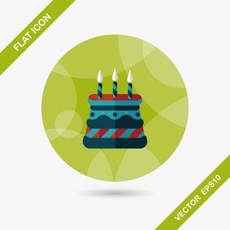 buttercream: torta di compleanno icona piatto con una lunga ombra