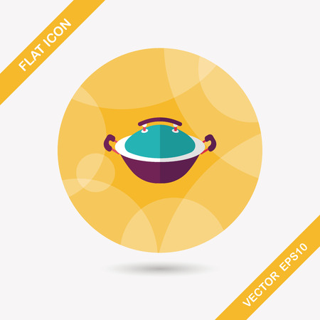 stew pot: kitchenware pot flat icon with long shadow Illustration