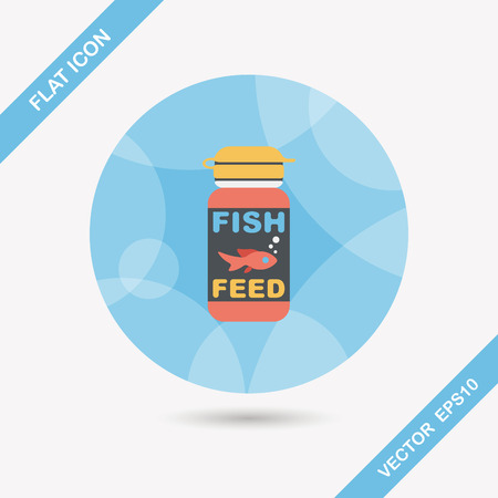 animals feeding: Pet fish feed flat icon with long shadow