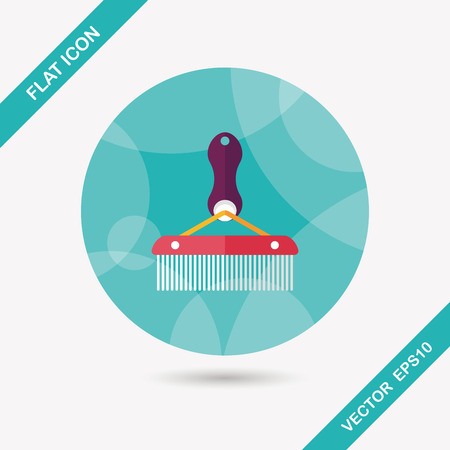 groomer: Pet dog brush flat icon with long shadow