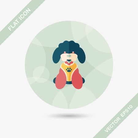 dogie: Pet dog flat icon with long shadow Illustration