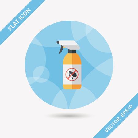pesticida: Icono plana Pet aerosol de la pulga con larga sombra Vectores