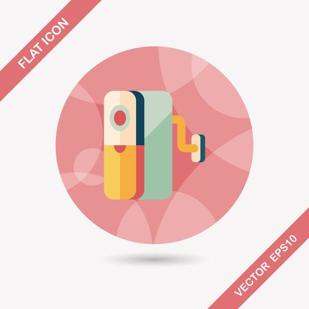 sharpener: Pencil sharpener flat icon with long shadow Illustration