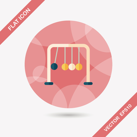 newtons cradle: Newtons Cradle flat icon with long shadow,eps10
