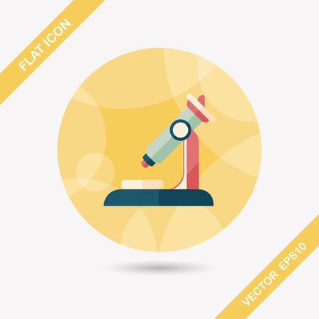 bacteria microscope: microscope flat icon with long shadow Illustration