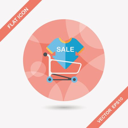 shopping sale sign board and cart flat icon with long shadow,eps10