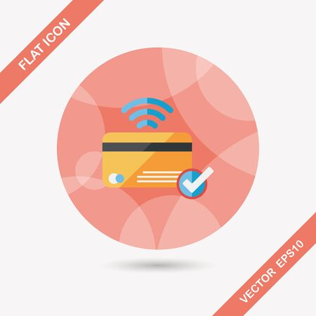 creditcard: shopping credit card flat icon with long shadow