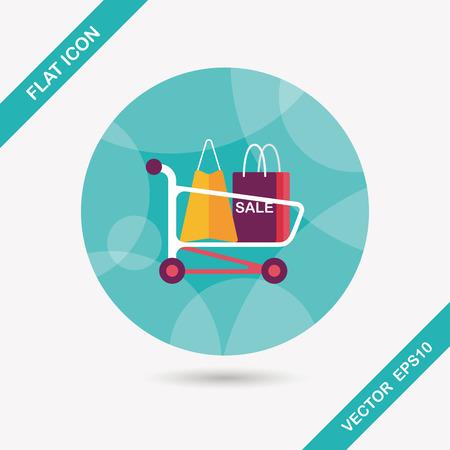 shoppingcart: shopping cart flat icon with long shadow Illustration