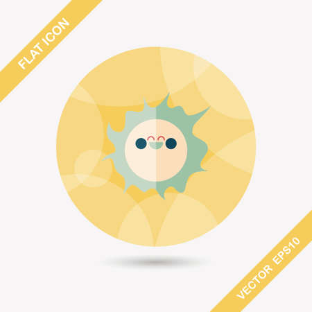 suns: Space sun flat icon with long shadow Illustration