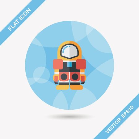 Space Astronaut flat icon with long shadow Vector