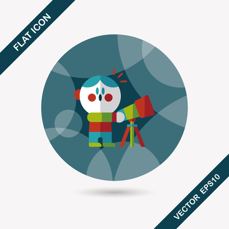 Space boy and telescope flat icon with long shadow Vector