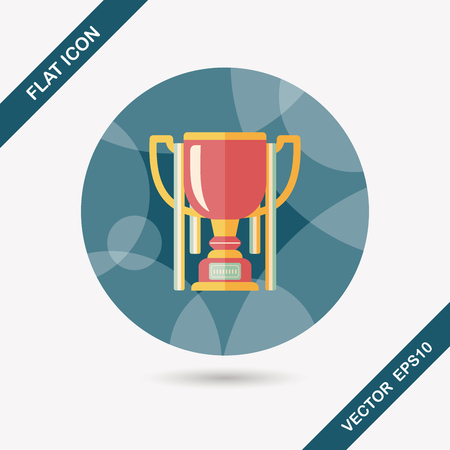 trophy winner: trophy cup flat icon with long shadow