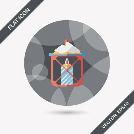 advent candles: Christmas candle flat icon with long shadow