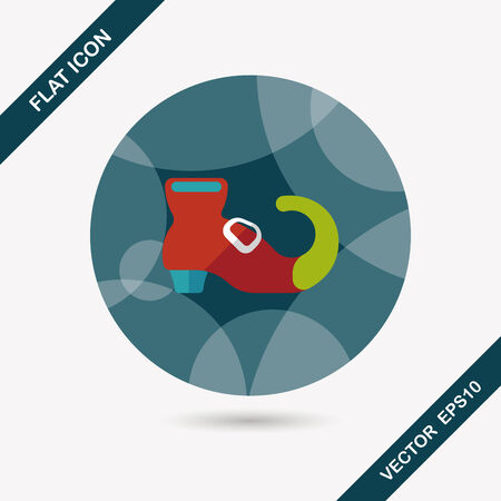 bewitch: Witchs boots flat icon with long shadow Illustration