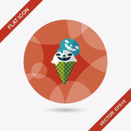 vamp: Halloween ice cream flat icon with long shadow Illustration