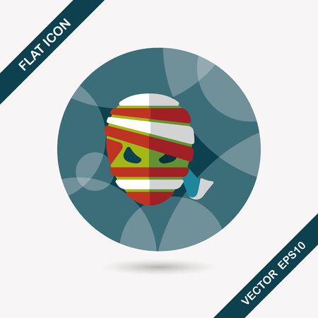 Halloween mummy flat icon with long shadow,eps10 Vector