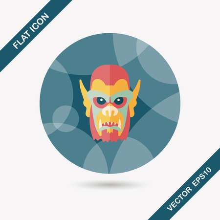terrify: Halloween devil flat icon with long shadow