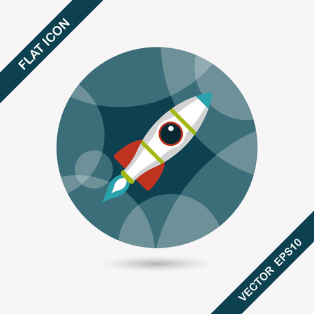 satellite launch: Space rocket flat icon with long shadow