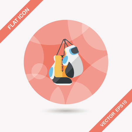 combative: boxing gloves flat icon with long shadow Illustration