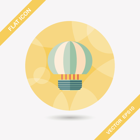 Hot Air Balloon flat icon with long shadow Vector
