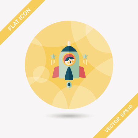 Space rocket and astronaut flat icon with long shadow Vector