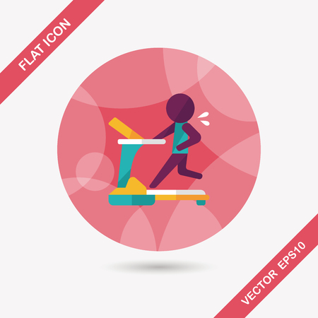 treadmill flat icon with long shadow Vector